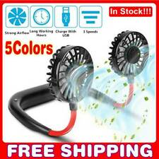 Mini Portable USB Rechargeable Neckband Fan Lazy Neck Hanging Dual Cooling Fan.