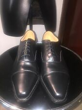 English handmade shoes all leather black chisel toe capped oxford NOS UK 11.