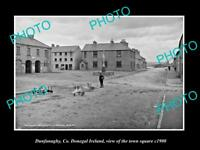 OLD LARGE HISTORIC PHOTO OF DUNFANAGHY DONEGAL IRELAND, THE TOWN SQUARE c1900
