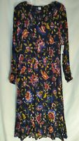 Old NAVY India 100% Viscose Long SLV FLORAL Smock WAIST Midi Women Dress XL