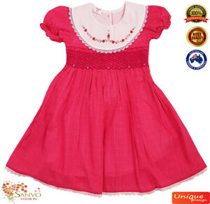 Smocked Dress Girls Baby Toddler Dark Pink Embroidered Flower Collar