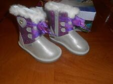 Girls Stride Rite Frozen Silver/Purple Cozy Boots  Size 8M