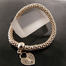 BANGLE BRACELET REAL 18K ROSE G/F GOLD DIAMOND SIMULATED HEART PADLOCK DESIGN