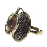 1x Retro Metall Ring Fingerring Ringe schwarz Kaffeetasse einstellbar GY