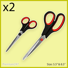 PAIR of X 2 Crafts Scissors Household Scissor Soft Grip Office Stainless Steel