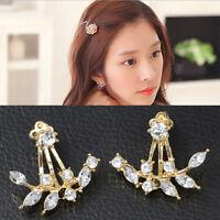 Women Earrings Geometric Leaves Double Sided Ear Jacket Rhinestone Jewelry CF