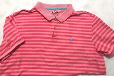 "IZOD ""ADVANTAGE PERFORMANCE"" Mens Pink Stripe Polo Shirt-Size XL-S/Sl-EUC"