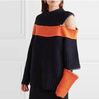 2019 FW Womens Designer Inspired  Zipper Cut Off 2 Tones Wool Knitwear Jumper