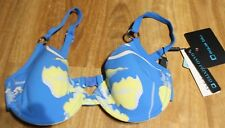 NEW AQUA BLUE FLORAL UNDERWIRE BIKINI SWIM TOP SIZE 10 - FITS UP TO D CUP