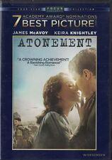 Atonement DVD, 2008, Widescreen James McAvoy & Keira Knightley