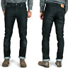 Nudie Herren Slim Fit Jeans Hose | Thin Finn Black Coated Indigo | Leder Optik
