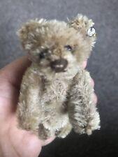 "RARE Miniature Steiff Raised Silver Button Teddy Bear Caramel BROWN Mohair 3.25"""