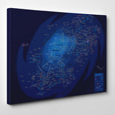 Star Wars Galaxy Map - Framed Canvas Art Print - Movie Map Space