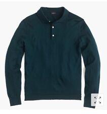 New J Crew Italian Merino Wool Polo Sweater Sherwood Green Sz M G8236