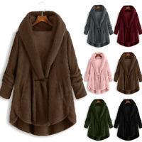 Women's Plush Fleece Fur Tops Hooded Cardigan Wool Coat Winter Jacket Outwear UK