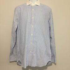 Men's Lands' End Blue White Striped Button Front Dress Shirt Size 16 -35 EUC