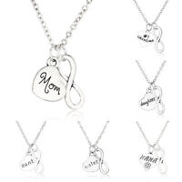 Heart Infinity Double Pendant Necklace Silver Plated Family Mom Daughter Charm