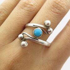 Vtg 925 Sterling Silver Natural Turquoise Gemstone Overlap Wide Ring Size 9 1/4