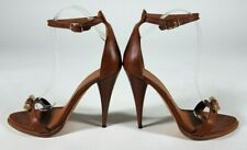 GIVENCHY Brown Leather Crystal Toe Ankle Strap Sandals Shoes