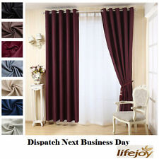 2 x Burgundy Blockout Eyelet Curtains 180cm x 230cm (Drop) Wine Red Pair