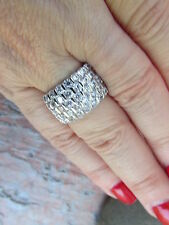 Sterling Silver CZ Shiny Staggered Channel Cigar Band Wide Ring Size 7 NEW