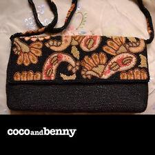 *Vintage DIVINE Beaded Evening Bag Silk Lining Paisley Design Beaded Strap