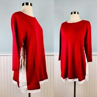 Size Medium M J Jill Red White Linen Blend Layered Tunic Top Blouse Shirt