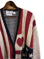 VTG Marisa Christina Women Sz 2X Hand Knit American Flag Cardigan Patriotic USA