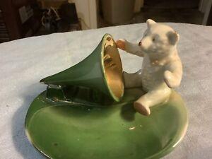 Antique German Pink Paw Bear And Victrola Phonograph Trinket Dish Pin Tray