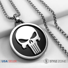 NEW Stainless Steel Punisher Ring Jewelry Logo Pendent w Round Box Necklace 14S