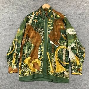 VINTAGE Hermes Mens Shirt Size 39 AU Large Silk Multicoloured Long Sleeve 293.15