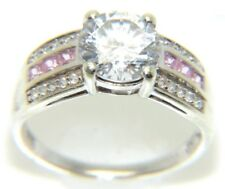 DONNE 9ct 9 carati oro bianco rosa & TRASPARENTE INCASTONATI Abito anello