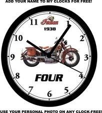 1938 INDIAN FOUR MOTORCYCLE WALL CLOCK-Free USA Ship