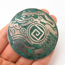 925 Sterling Silver Vintage Mexico Turquoise Inlay Tribal Design Slide Pendant