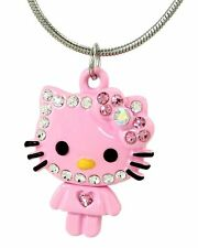 Cute Pink Hello Kitty Necklace Silver Tone  Crystals 17 Inches