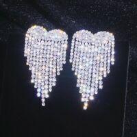 Luxury Rhinestone Tassel Earrings Heart Wings Drop Dangle Women Wedding Jewelry