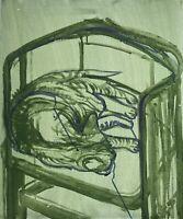 Malerin Brigitte Tietze Berlin Katze im Jugendstilstuhl 60 x 50 cm Expressiv