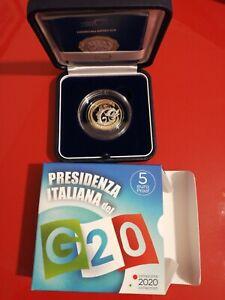 ITALIA 2020 PRESIDENZA ITALIANA DEL G20 MONETA 5 EURO PROOF BIMETALLICO
