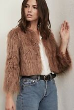 RARE Reformation Brinsley Faux Fur Shaggy Cropped Jacket Coat XS