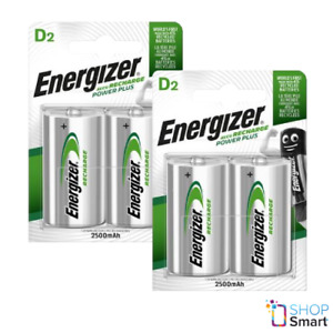 4 ENERGIZER RECHARGEABLE D HR20 BATTERIES POWER PLUS NiMH 1.2V 2500mAh MONO NEW