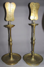 A Pair of Very Fine Korean Full Set of Brass Candle Sticks-19th C