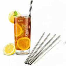 16 Pack of Straight 12mm Stainless Steel Metal Drinking Straws Packs Re-usable