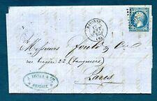 LAC 1862 CAD BAYONNE à PARIS - marque losange PC 295 sur Napoléon 20c ND