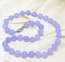 Charm Fashion 8mm purple jasper gemstone round beads necklace 18''