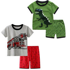 Baby Boys Summer Dinosaur Cartoon Top Shorts Pjs Pyjamas Kid Sleepwear Tracksuit