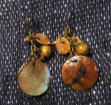 earrings with various beads Lovely brown coloured dangle