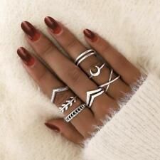 Fashion Silver Moon Cross Adjustable Rings 7pcs Set Women Accessories Ring Gift