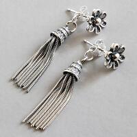 Vintage Flower Tassel Drop Earrings for Women Solid 925 Sterling Silver Jewelry