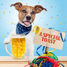 Carte Blanche 3D Holographic Card - Up Close - Jack Russell with Beer - A Specia