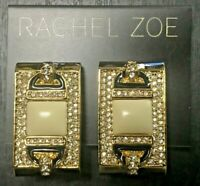 RACHEL ZOE 14K Yellow Gold Plated Ivory Crystal Cluster Earrings RITZY!